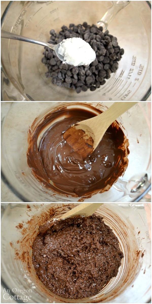 Making dark chocolate coconut clusters