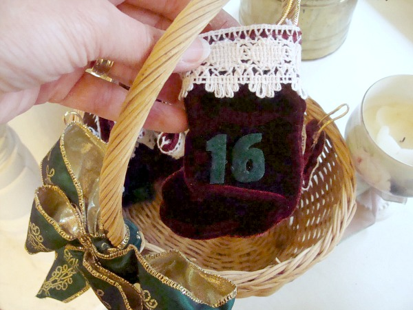 Christmas Advent Stockings in Basket
