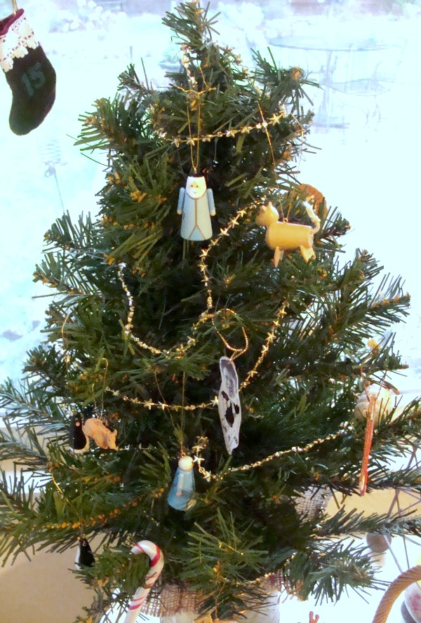 Christmas Advent ornaments on tree
