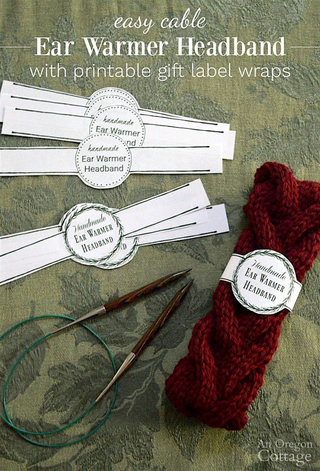 Free printable label wraps make easy cable knitted ear warmer headbands a perfect gift.