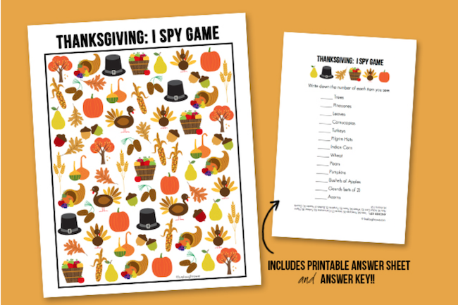 Last minute Thanksgiving ideas-I Spy Thanksgiving Printable