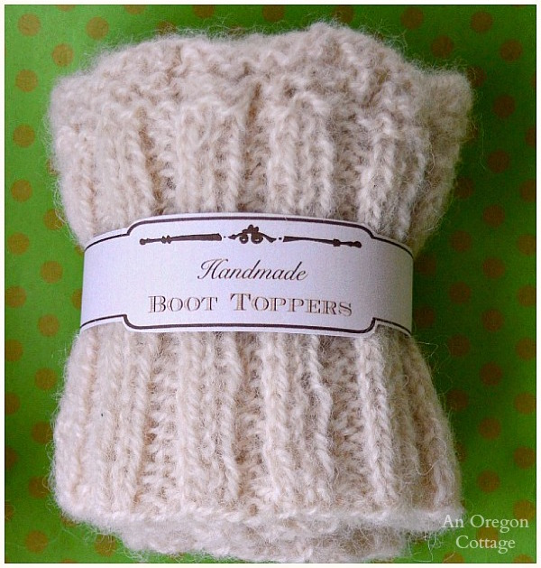 Knitted Boot Cuffs with Free Printable Tags