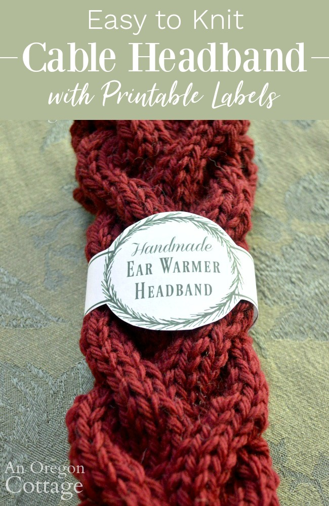 Knitted Cable Headband and Printable pin