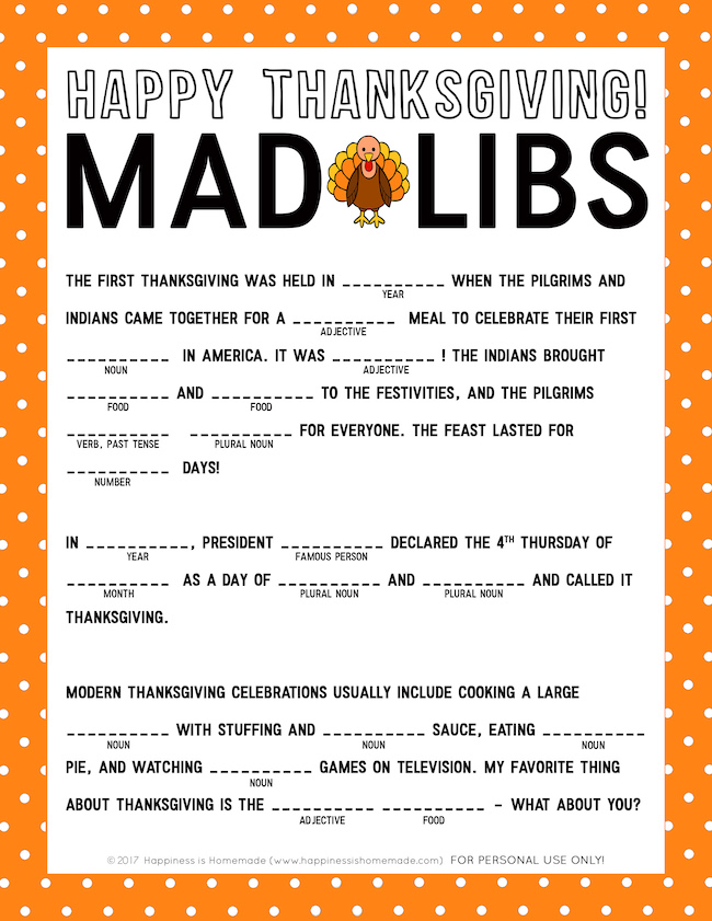Last minute Thanksgiving ideas-Thanksgiving-Mad-Libs-Printable