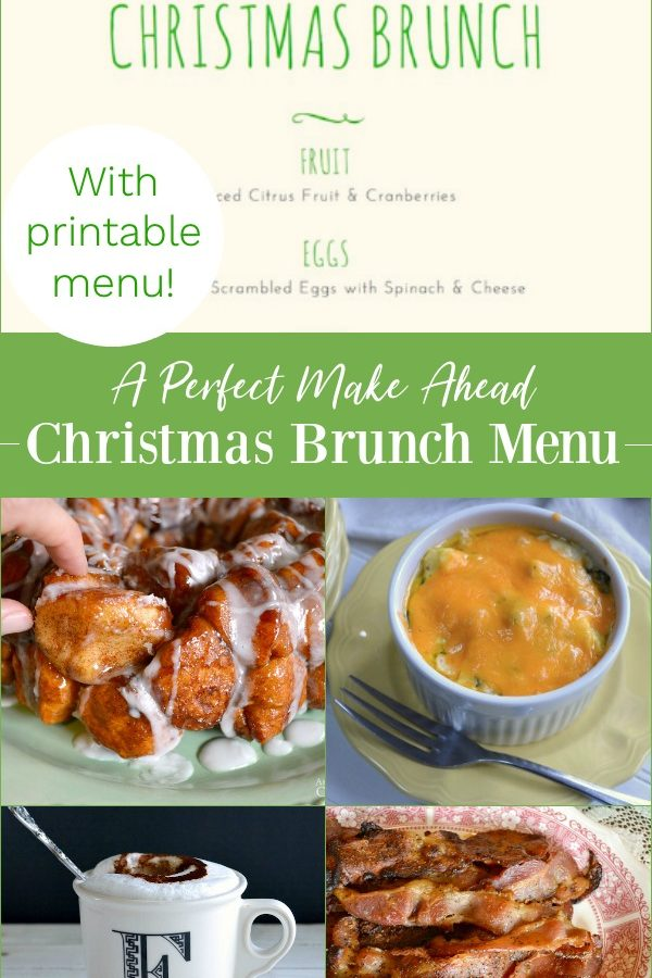 A perfect make ahead Christmas brunch menu with printable menu.
