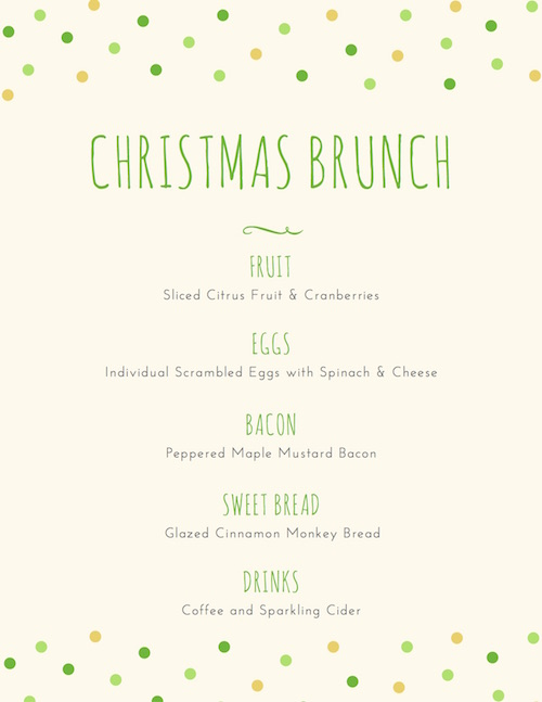Printable Make Ahead Christmas Brunch Menu