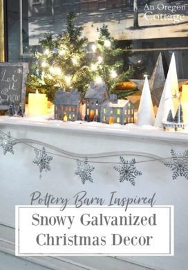 Pottery Barn Inspired Snowy Galvanized Christmas Decorations