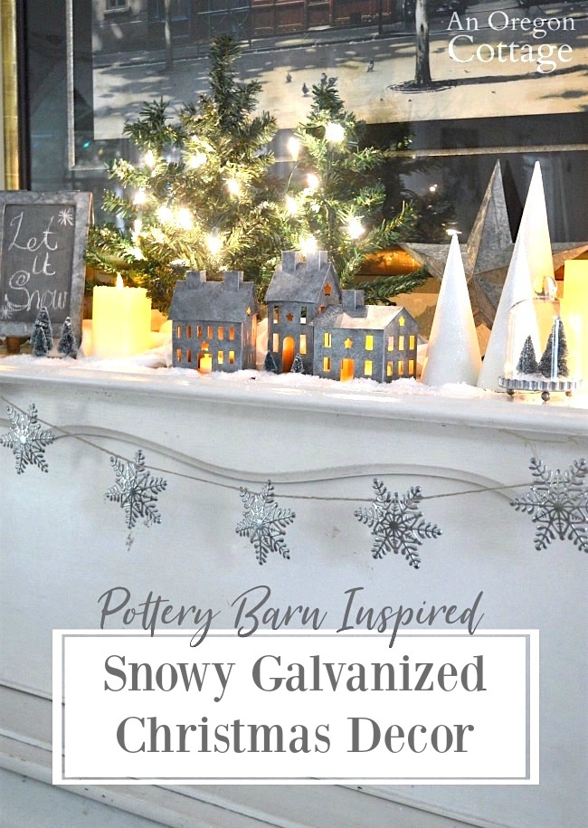 Pottery Barn Inspired Snowy Galvanized Christmas Decor with DIY painted houses and glitter cone trees. #christmasdecor #diy