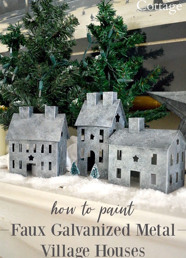 How to paint faux galvanized metal village houses or any metal surface you want to galvanize. #paint #diy