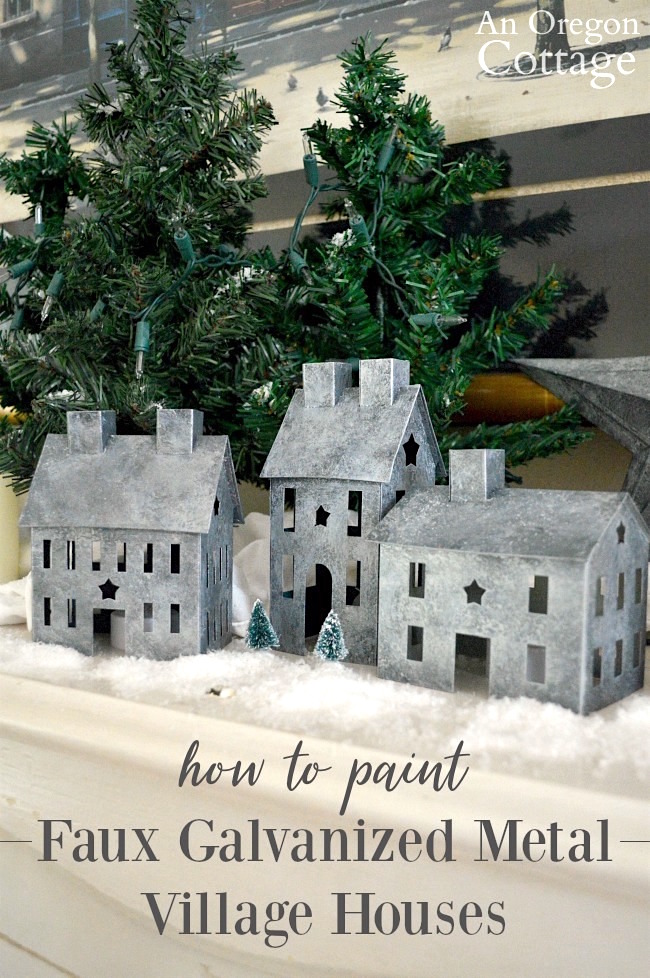 How to paint a faux galvanized finish on metal village houses or any metal surface you want. #paint #diy