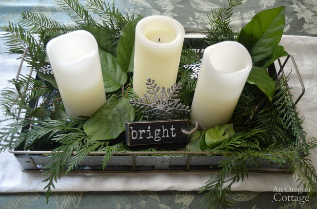Simple Galvanized tray Christmas centerpiece