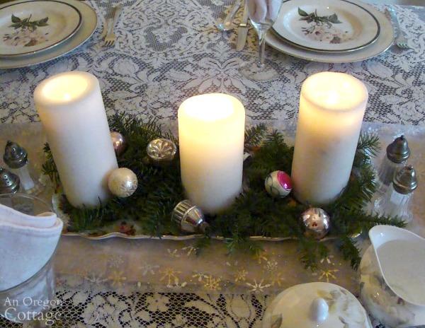 Simpler Christmas Brunch centerpiece
