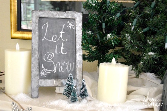 Snowy galvanized Christmas Decorations-let it snow sign