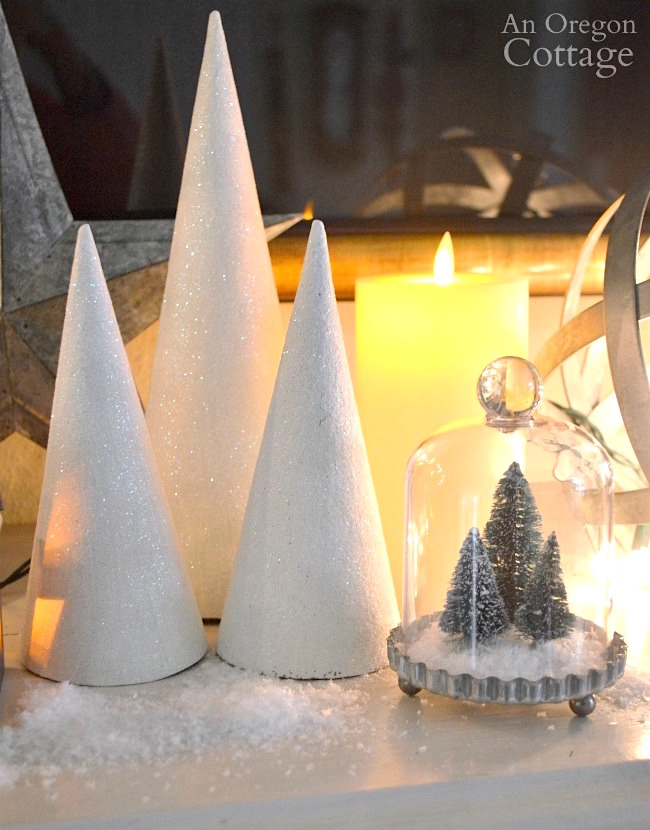 Snowy galvanized Christmas Decorations-white glitter cone trees lit