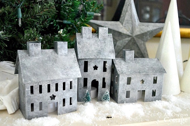 Snowy galvanized Christmas decorations-DIY painted metal village houses