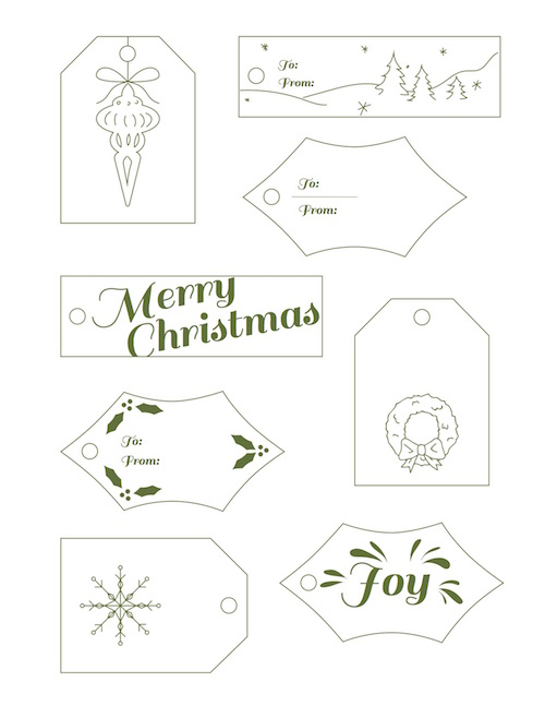 green and white Christmas tags