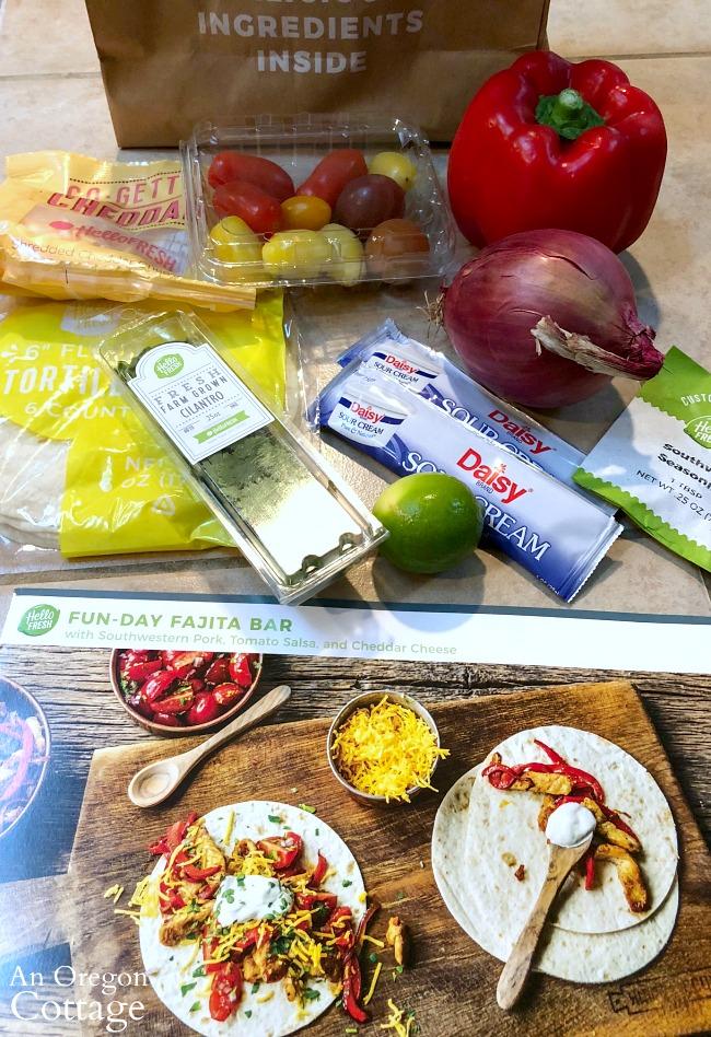Hello Fresh Fajitas meal ingredients