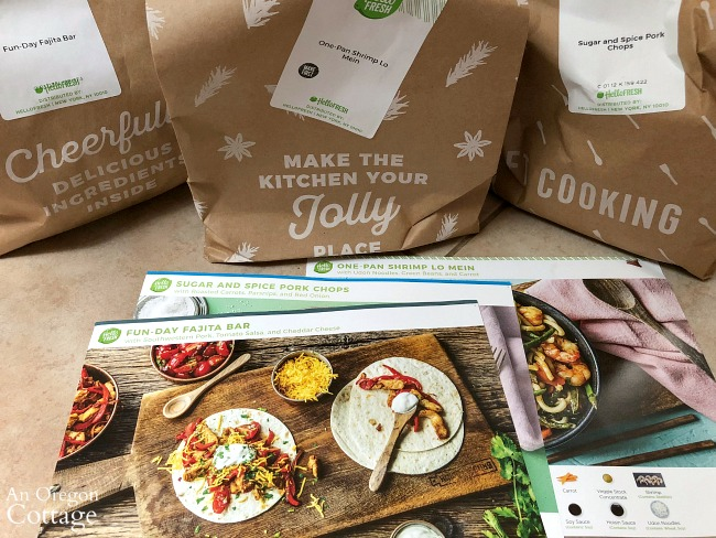 Hello Fresh ingredient bags and recipe cards