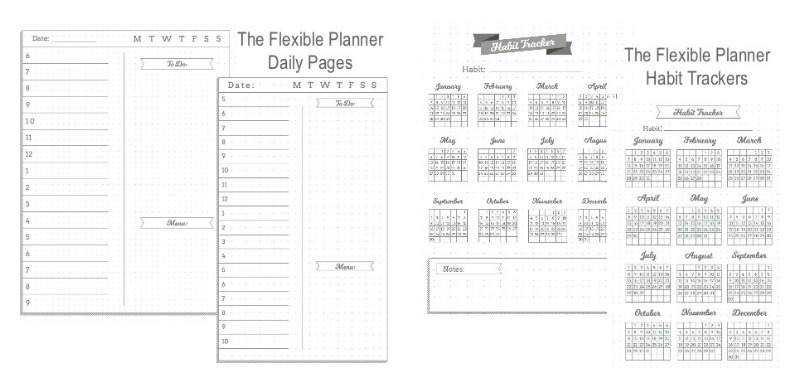 The Flexible Planner daily pages and habit trackers