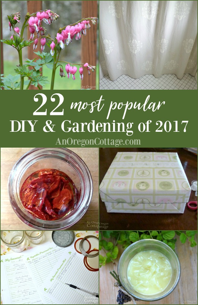 The most popular DIY and gardening projects of 2017 - ten of the most visited projects published in 2017 and eleven from all-time, everything from preserving helps to home decor. #DIY #gardening #homemade