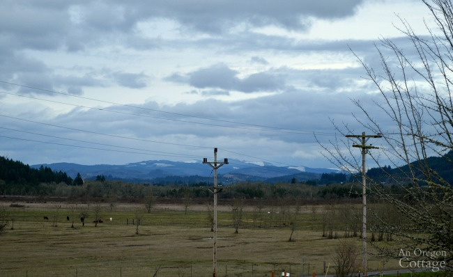 Farmhouse Fixer Details-snow capped hills veiw from porch