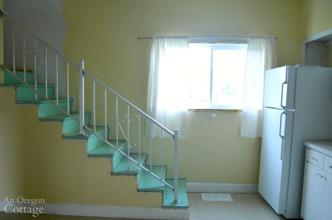 Farmhouse Fixer Details-stairs with metal railing