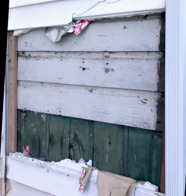 Old farmhouse siding revealed