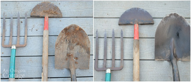 Steps to Care for Garden Tools-digging tools before and after