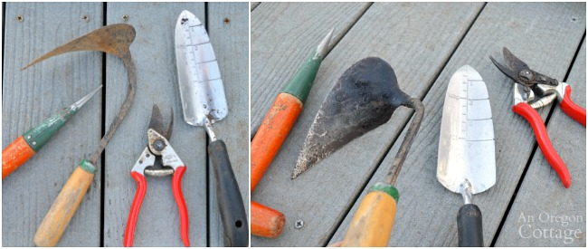 Steps to Care for Garden Tools-hand tools before and after
