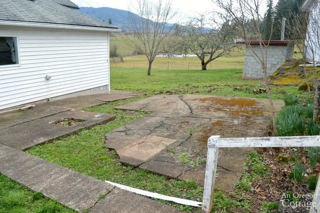 Farmhouse Fixer Yard Tour Before-broken concrete