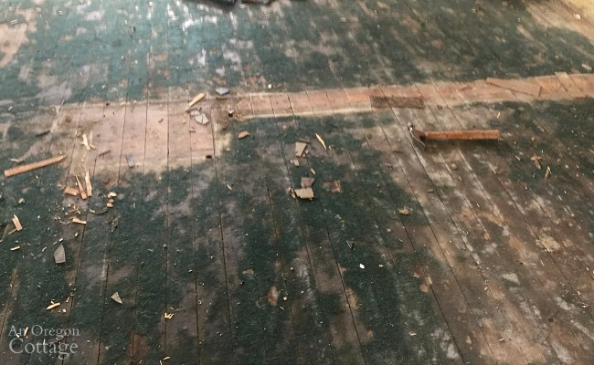 Old farmhouse wood floors covered in stuff.