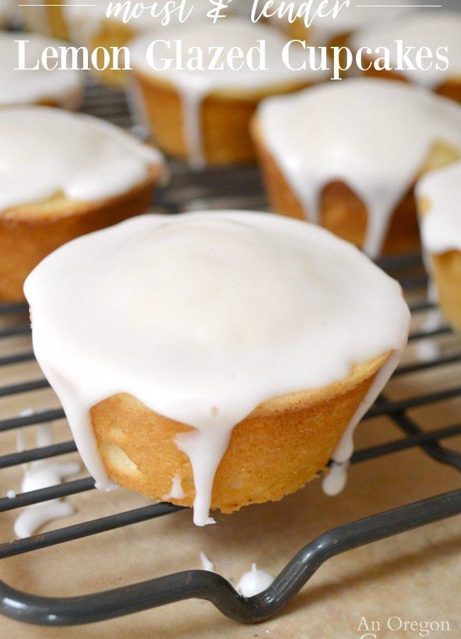 Lemon glazed cupcakes on rack