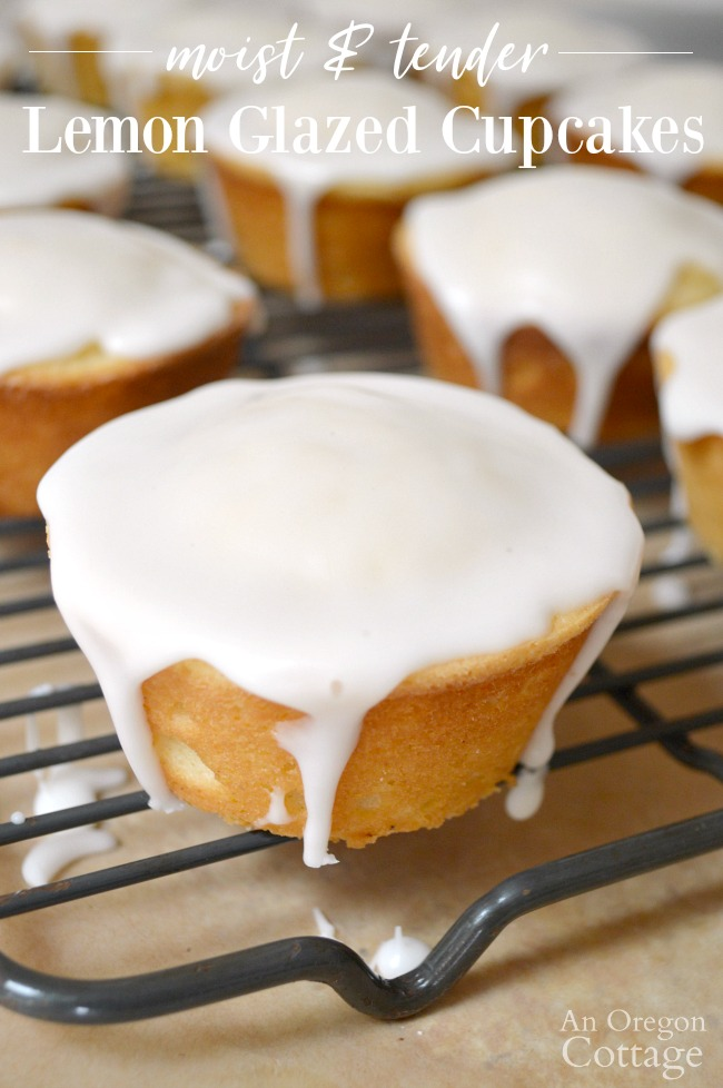 Lemon glazed cupcakes on rack