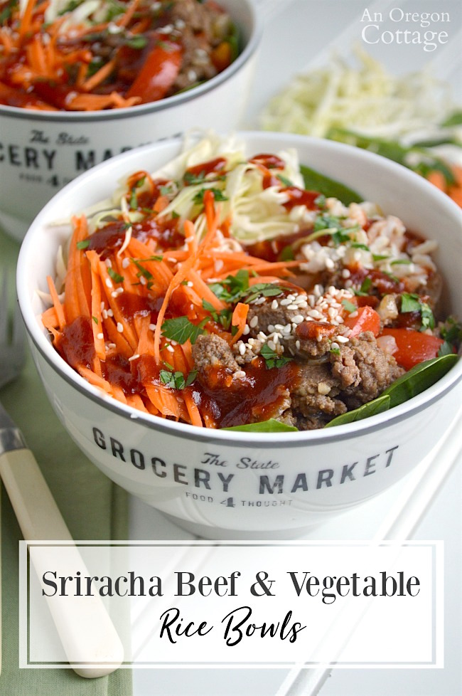 Bowls of Sriracha Beef, Vegetables and Rice