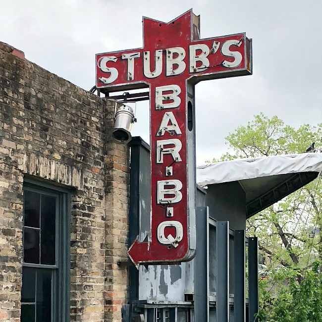 Stubbs BBQ sign in Austin