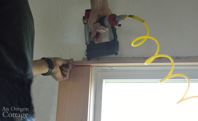 Attaching top vertical 1x2 for 1920s farmhouse window trim DIY