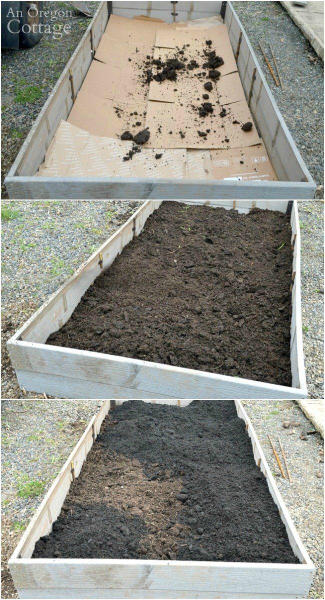 3 Soil layers in raised garden bed