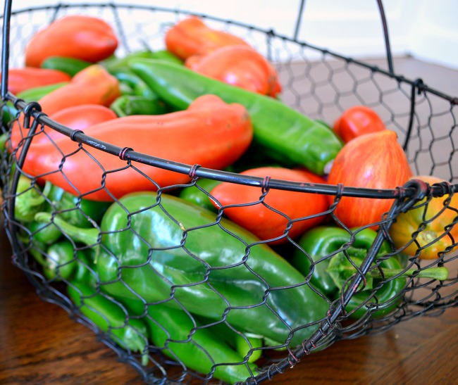Easy Grow Vegetables-peppers and tomatoes in a basket