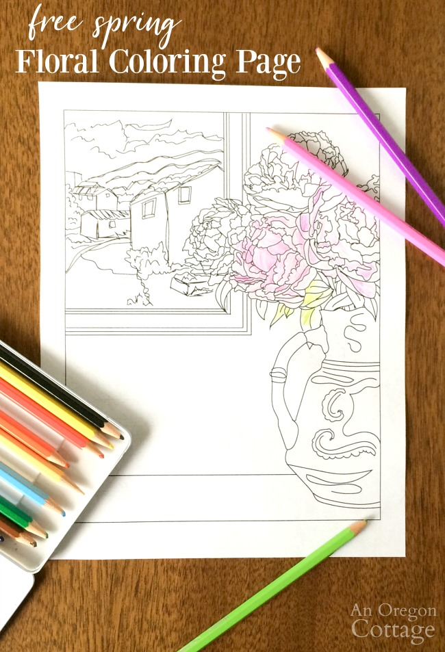 Floral coloring page with colored pencils