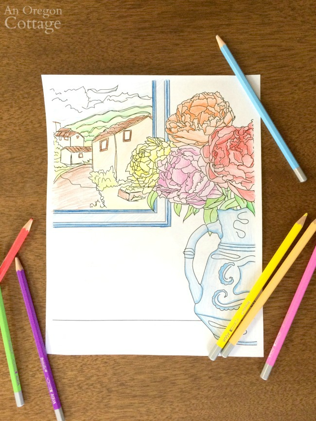Completed spring floral coloring page
