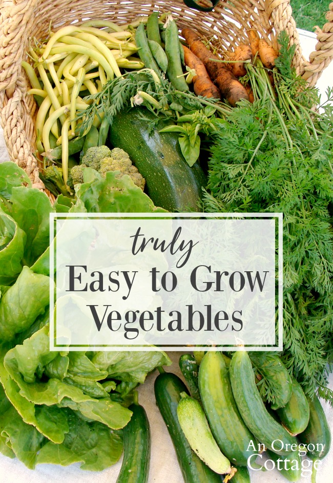 Easy grow vegetables spilling out of a basket