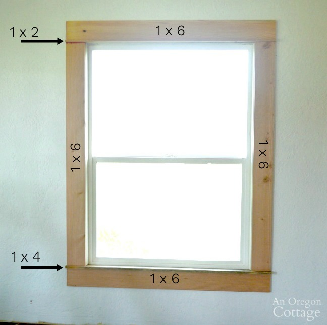 Window showing wood used for 1920s farmhouse window trim DIY