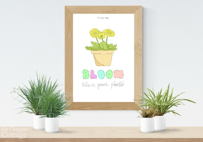 Colorful hand-drawn floral art framed with plants