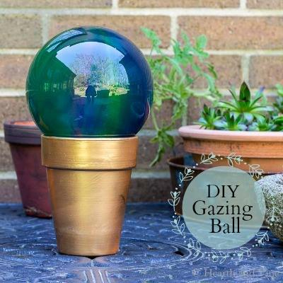 DIY Garden Gazing Ball on gold pot