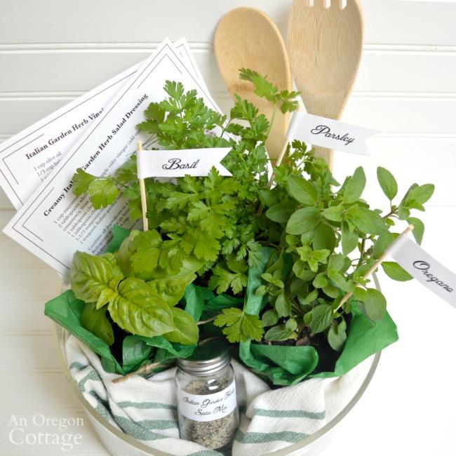 Italian Herb Garden Salad Dressing Gift Basket completed