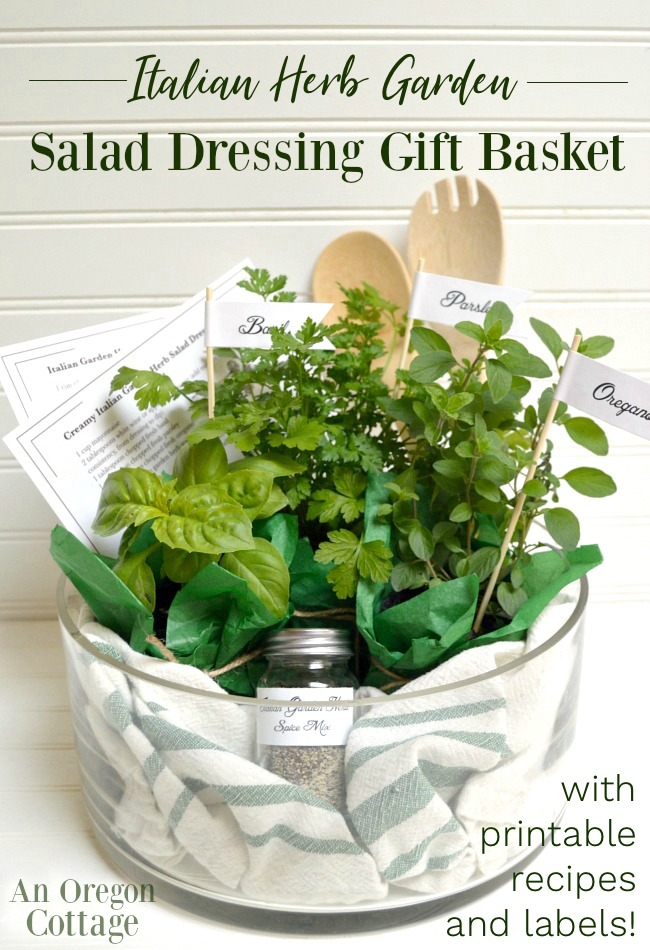 Herb garden salad dressing gift basket