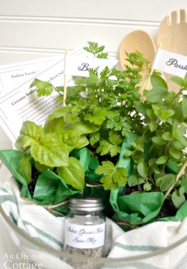 Herbs and supplies to make a salad dressing gift basket
