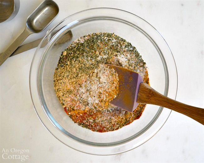 Mixing Thai spice rub ingredients