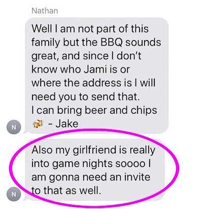 game night text