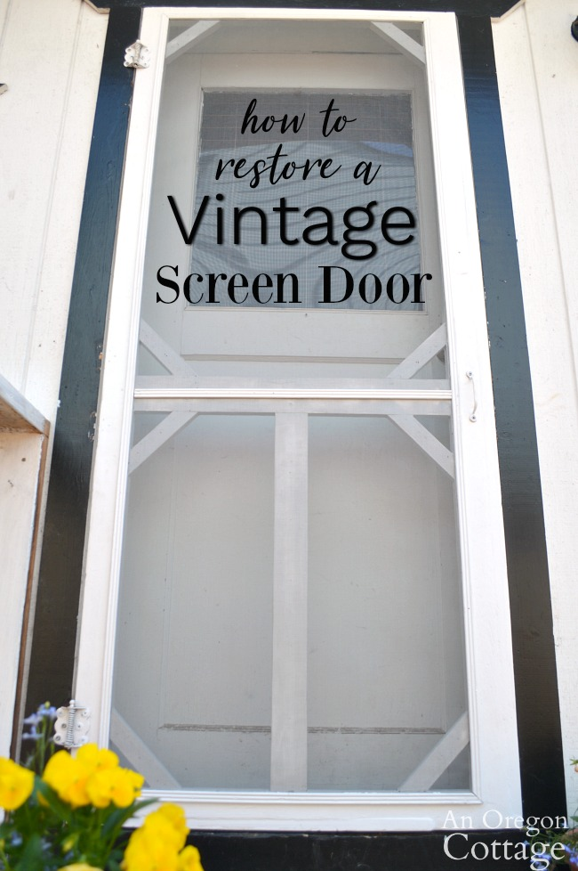 Restored vintage screen door